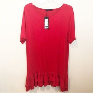 Nasty Gal Ruffle Tiered T-shirt Dress NWT